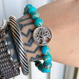 Genuine blue sea jasper tree of life bead bracelet